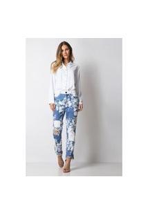 Calça Reta Estampada Lança Perfume Jeans Azul