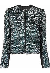 Karl Lagerfeld Jaqueta Bicolor De Tweed - Preto
