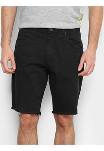 Shorts Jeans Calvin Klein Barra Desfiada Masculino - Masculino-Preto