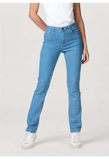 Calça Jeans Feminina Reta Cintura Alta Com Elastan