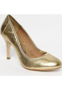 Sapato Tradicional Em Couro Metalizado Com Tag - Douradocarmen Steffens