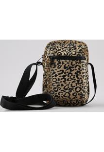 Bolsa Shoulder Bag Unissex Transversal Pequena Estampada Animal Print Onça Em Pelo Caramelo