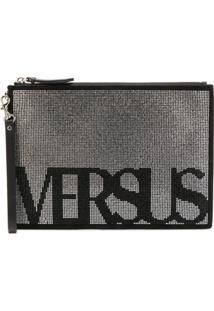Versus Bolsa Clutch De Camurça Com Logo - Preto
