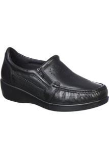 Sapato Feminino Doctor Pé Conforto Em Couro - Feminino-Preto