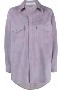 Iro Buttoned-Up Leather Shirt Jacket - Roxo