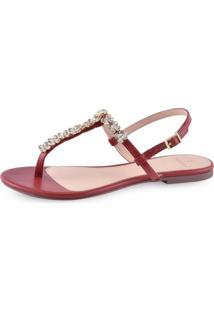 Sandália Flat La Femme Elegance Vermelha Cristal
