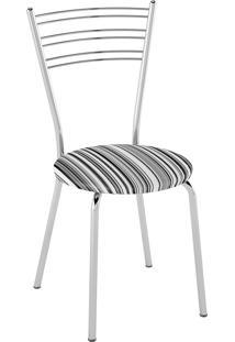Kit C/ 2 Cadeiras Assento Listrado Preto Pozza