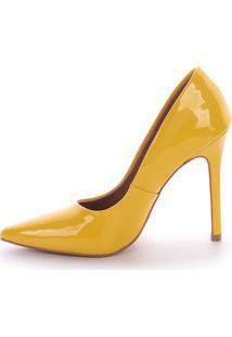 Scarpin Salto Alto Paula Brazil Verniz Amarelo - Kanui