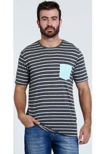 Camiseta Masculina Manga Curta Listrada Marisa