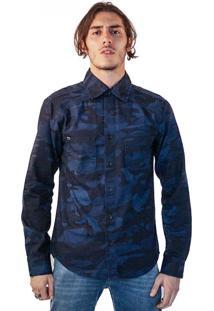 Camisa Jeans Malhas Carlan Estampada Camuflada Azul