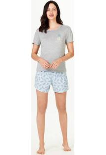 Pijama Curto Feminino Decote Redondo