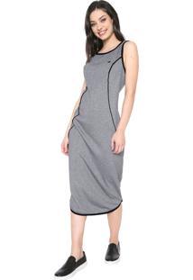 Vestido Triton Midi Recorte Cinza
