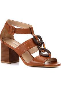 Sandália Couro Shoestock Organic Chain Feminina - Feminino-Caramelo