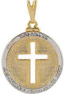 Pingente Narcizza Semijoias Redondo Com Cruz Vazada E Versículo Do Salmo 25 Banhado No Ouro Com Detalhes Em Ródio