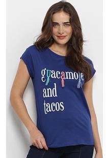 Camiseta Lez Lez Guacamole And Tacos Feminina - Feminino-Marinho+Branco