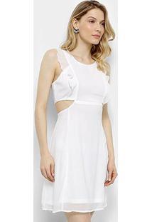Vestido Lily Fashion Tubinho Curto Decote Lateral Babados - Feminino-Branco