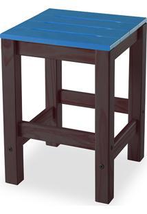 Banqueta Baixa Sem Encosto Colorida De Madeira Maciça Gourmet Taeda Tabaco Olga – Verniz Tabaco/Azul 32X32X45Cm