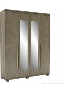 Guarda-Roupa 4 Portas 3 Gavetas Com Pés Originale 100% Mdf 230 X 178,5 X 53 Com Espelho Ébano - Belmax Móveis