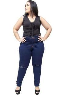 Calça Jeans Plus Size Credencial Skinny Nadieg Feminina - Feminino-Azul