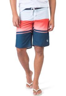 Boardshort Listrado Azul Marinho / Vermelho