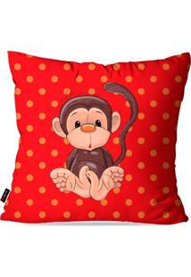 Capa De Almofada Pump Up Avulsa Infantil Vermelho Macaco 45X45Cm