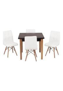 Conjunto Mesa De Jantar Luiza 80Cm Preta Com 4 Cadeiras Gomos - Branco