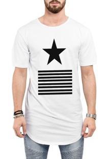 Camiseta Criativa Urbana Long Line Oversized Star Listras Estrela - Masculino