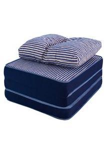 Puff Multiuso 3 Em 1 + Travesseiro Jacquard Azul Solteiro Bf Colchões
