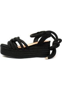 Sandália Damannu Shoes Corda Thaila Feminina - Feminino-Preto