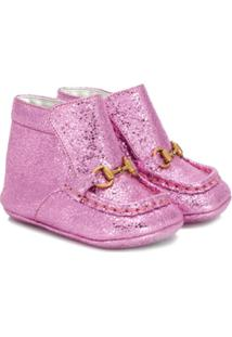 Gucci Kids Glitter Ankle Boots - Rosa