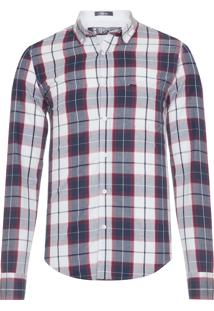 Camisa Masculina Xadrez Oxford - Azul