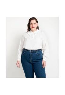Blusa Em Tricoline Com Babados Na Gola Curve E Plus Size Branco