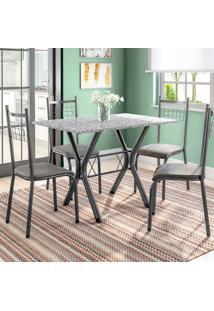 Conjunto De Mesa Miame Com 4 Cadeiras Lisboa Preto E Vegetale