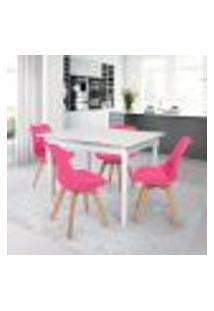 Conjunto Mesa De Jantar Robust 110X90 Branca Com 4 Cadeiras Eames Wood Leda - Rosa