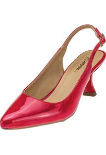 Scarpin Feminino Domidona Salto Taça Bico Fino Vermelho