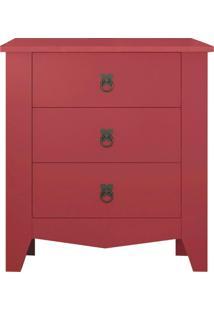 Criado Mudo Classic 3 Gavetas - Líder Design - Vermelho