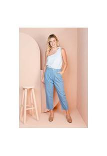 Calça Sisal Jeans Mom Com Pregas Azul