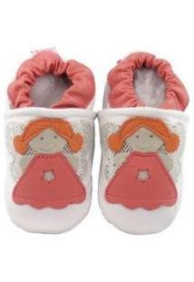 Pantufa Catz Calçados Couro Nicky Anjo Feminina - Feminino-Branco+Rosa