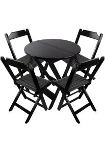 Conjunto Mesa Com 4 Cadeiras Dobrável Trevalla Red 80Cm Preta