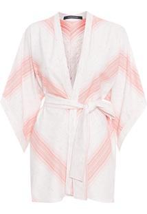 Kimono Feminino Listras - Bege