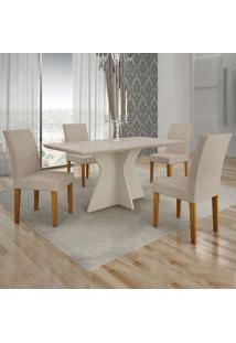 Conjunto De Mesa De Jantar Creta Iii Com 4 Cadeiras Olímpia Veludo Off White E Palha