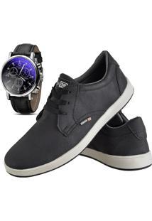 Sapatênis Sapato Casual Com Relógio Cr Shoes Com Cadarço Masculino 1510L Preto
