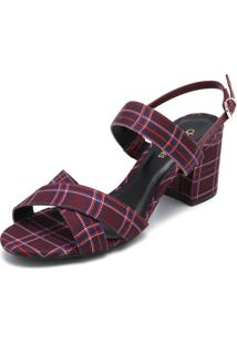 Sandália Dafiti Shoes Xadrez Vinho