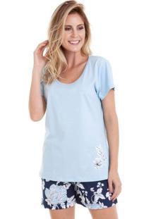 Pijama Short Doll Azul Floral Feminino Em Algodão Luna Cuore