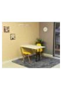 Conjunto De Mesa Dobrável Retrátil 120 X 75 Branca + 2 Cadeiras Eiffel - Amarela
