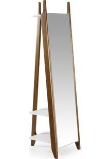Espelho De Chão 2 Prateleiras Stoka Maxima Nogal/Branco
