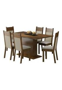 Conjunto Sala De Jantar Lousiana Madesa Mesa Tampo De Madeira Com 6 Cadeiras Rustic/Crema/Pérola Rustic