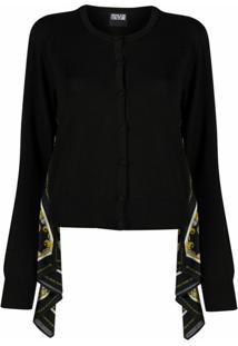 Versace Jeans Couture Cardigan De Tricô Com Detalhe De Lenço - Preto