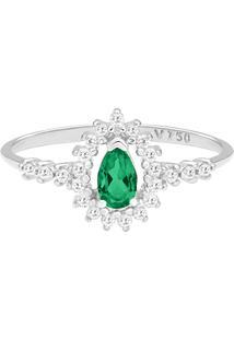 Anel Gota Ouro Branco Esmeralda E Diamantes
