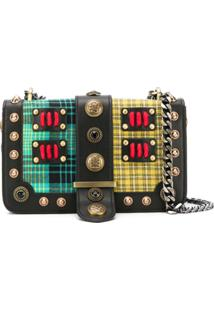 La Carrie Studded Panelled Crossbody Bag - Preto